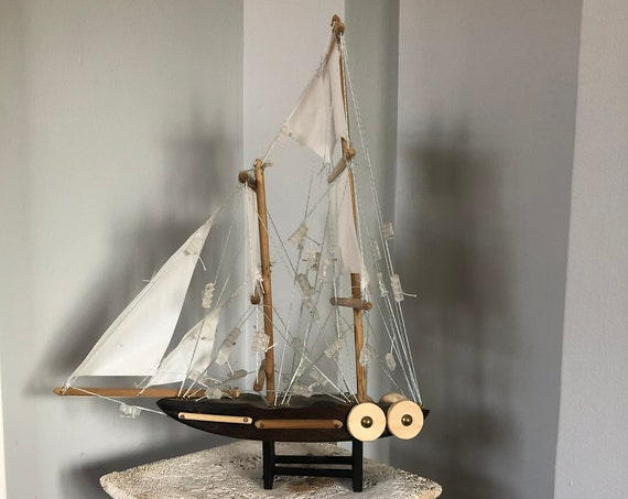 11 Inch Model Boat: Redwood Hull, Complementary Stand, 7 Sails, Stained Wood