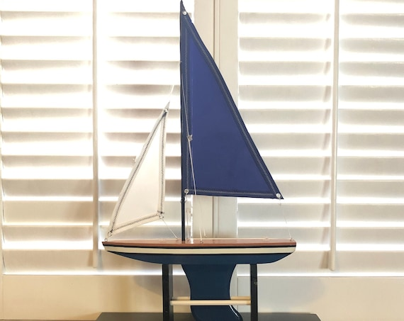 14 Inch Model Boat: Redwood Hull, Complementary Stand, 2 Sails, Natural Wood, Blue, Black Pin Striping