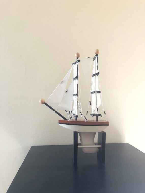 10 Inch Model Boat: Redwood Hull, Complementary Stand, 7 Sails, Natural Wood, White, Black Pin Striping