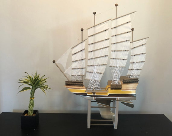 24 Inch Model Chinese Junk Ship: Redwood Multi-level Hull, Complementary Stand, 24 Sails, Yellow, Beige, Brown, White Pin Striping