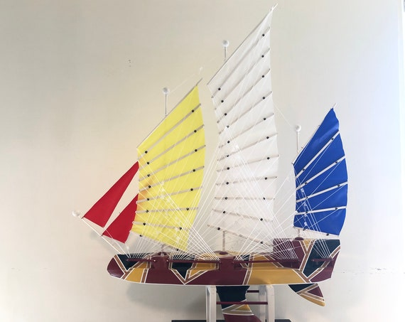 35 Inch Model Chinese Junk Ship: Redwood Multi-level Hull, Complementary Stand, 36 Sails, Blue, Red, Yellow, White Pin Striping