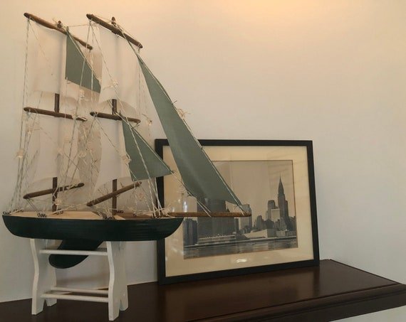 14.5 Inch Model Boat: Redwood Hull, Complementary Stand, 7 Sails, Stained Wood, Green, White