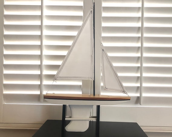 14 Inch Model Boat: Redwood Hull, Complementary Stand, 2 Sails, Natural Wood, White, Black Pin Striping