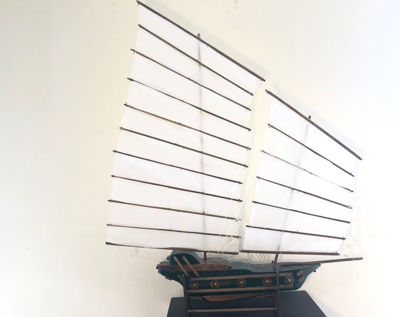 30 Inch Model Chinese Junk Ship: Multi-level Hull, Complementary Stand, 16 Sails, Green and Stained Wood