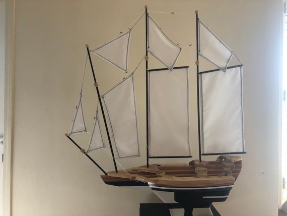 """37"""" Inch Model Ship: Redwood Multi-level Hull, Complementary Stand, 8 Sails, Black and White, Navy Pin Striping, Hemmed Sails"""
