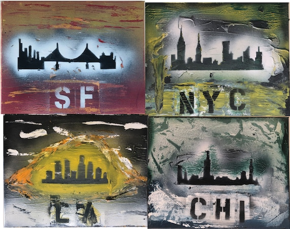 C-15-19 (Cities): LA, NYC, Chicago, San Francisco, Seattle, 14 X 11 Inches, Paintings