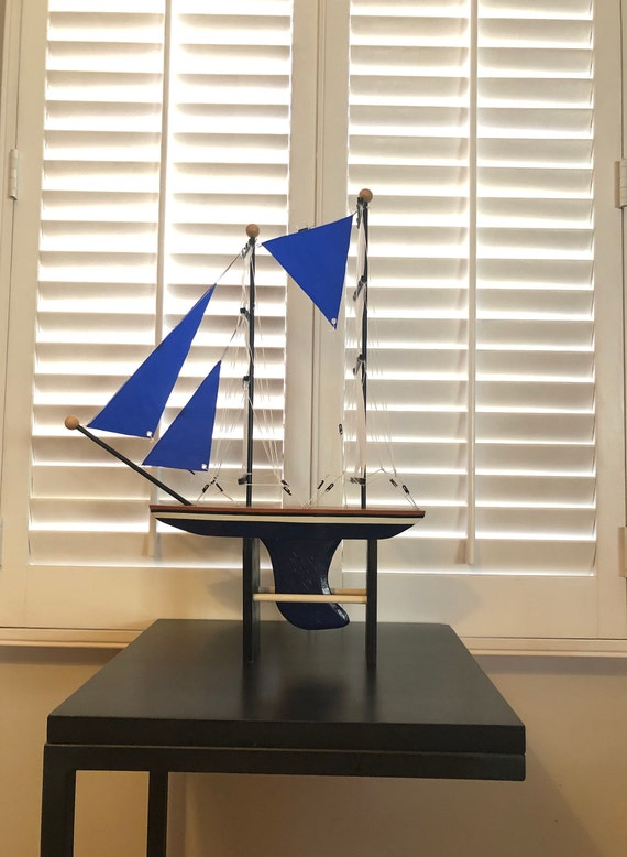 19 Inch Model Boat: Redwood Hull, Complementary Stand, 7 Sails, Natural Wood, Blue, White, or Light Blue, Black Pin Striping