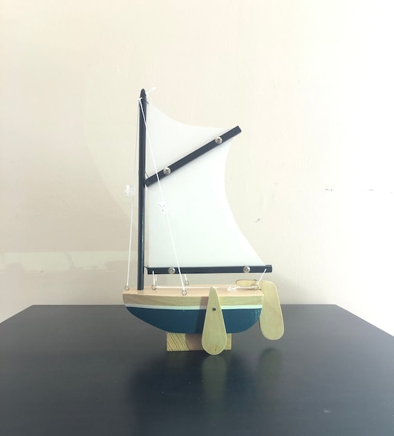 6.5 Inch Model Boat With Stand: Sabot Style, Redwood Hull, Complementary Stand, Pin Striping, Choose Your Color (White, Blue, Green, & Red)