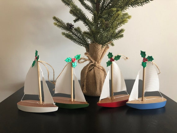 4 Inch Holiday Model Boat Ornaments