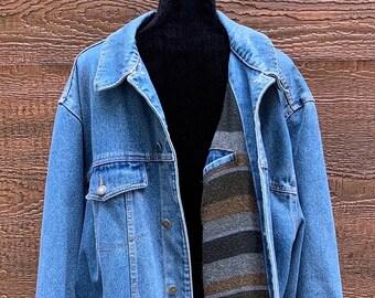 31c99124d3 WRANGLER HERO Jeans Vintage 90s Flannel Lined Denim Jacket Men s 2XL