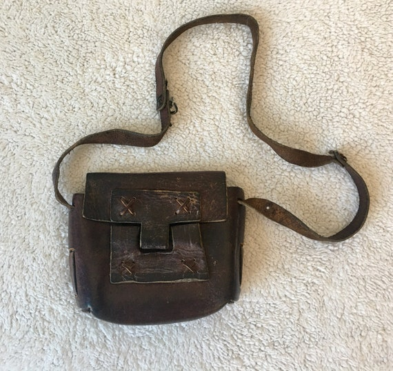 1970s leather handbag - leather purse kit bag - bo