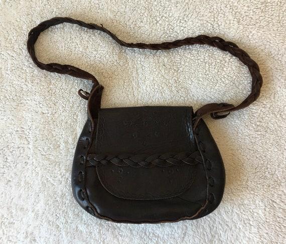 1970s leather handbag - leather purse kit bag - bo