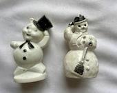 Set of 2 Vintage Midcentury Christmas Snowman Decor Ornament - Mid Century Modern Hard Plastic Christmas Decor - 1950s Retro Snowman