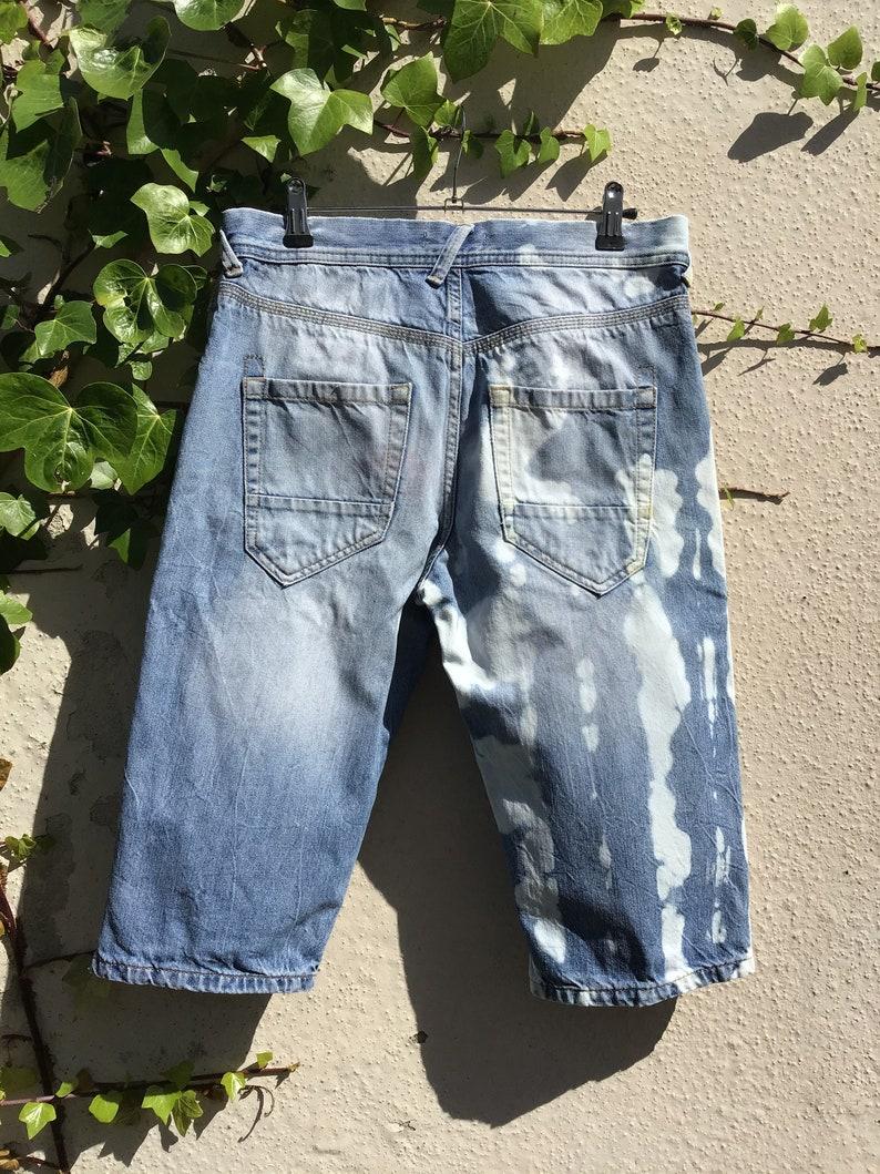 Men\u2019s reworked upcycled denim shorts reverse dye