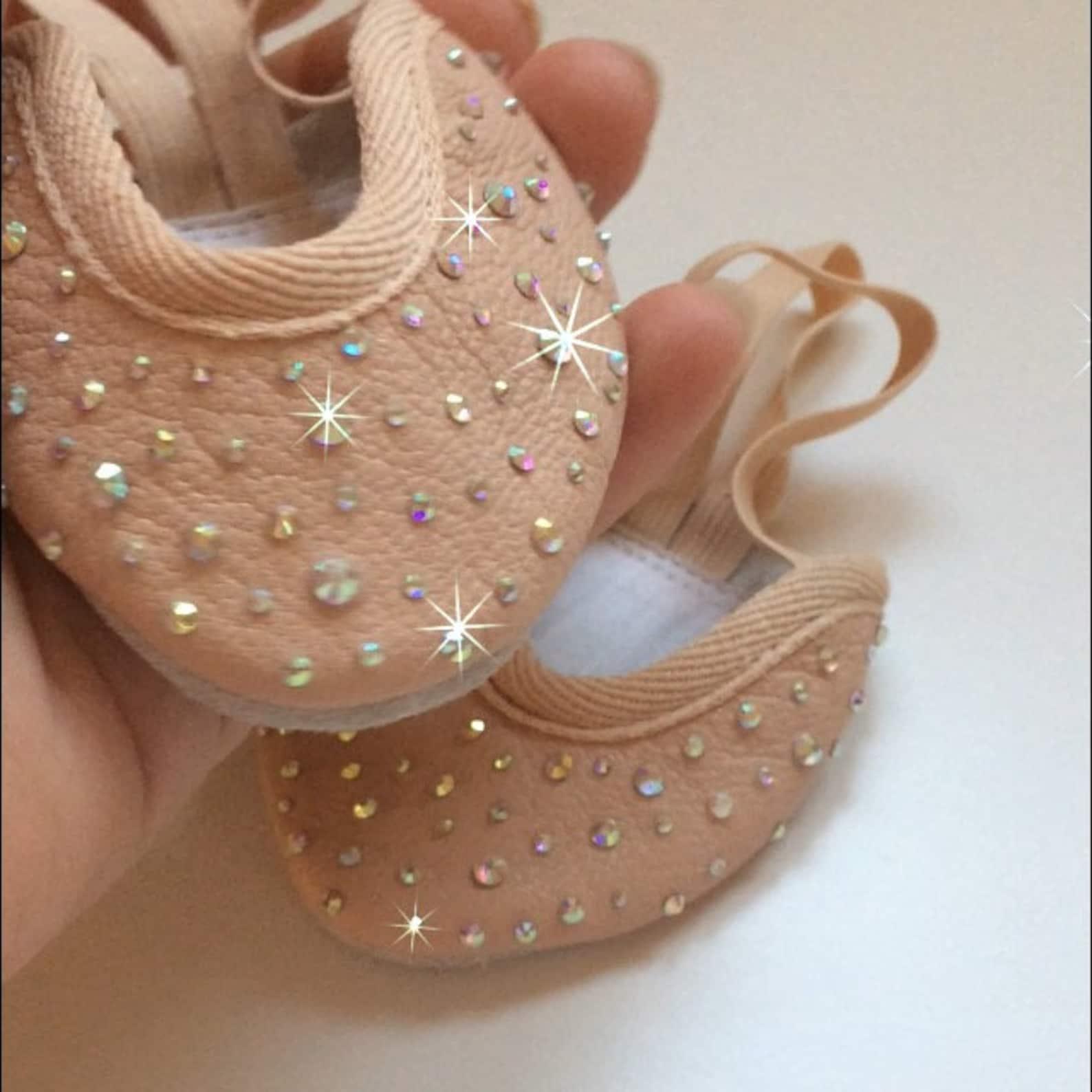 diamante toe shoes half shoes ballet rhythmic gymnastics lyrical dance all sizes