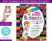 White Dress Fiesta Baby Shower Invitations - Fiesta Baby Shower Invitations - Blonde Baby Girl - Fiesta Baby Shower - Fiesta Invitations