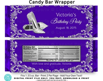Printable Candy Bar Wrapper Stepping Into Sixty WB09 Digital File EDITABLE text in Microsoft Word High Heels Shoes Purple Black