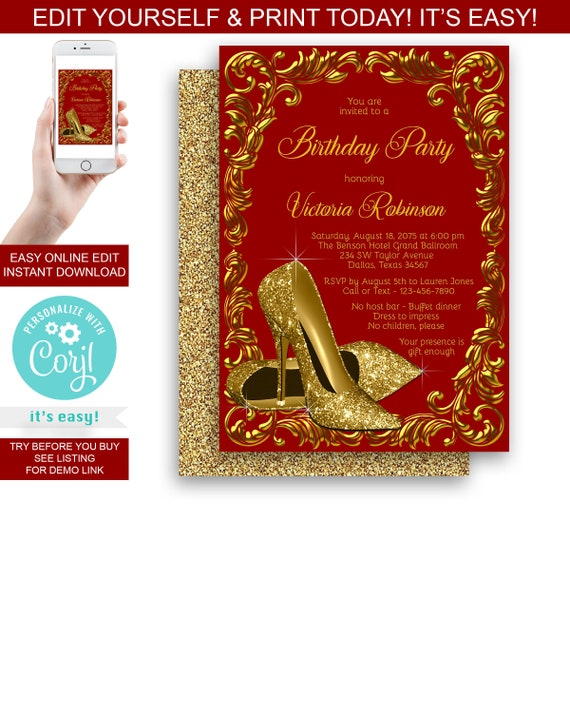 High Heel Shoe Birthday Party Invitation Gold High Heel Shoes Womans Red Gold Birthday Party Invitation Any Number Instant Download