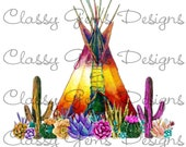 digital download cactus teepee graphic-perfect for tshirts bags can koozies png format