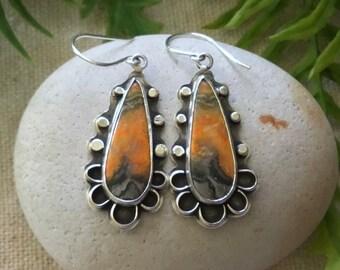 Bumblebee Jasper, Sterling Silver Earrings