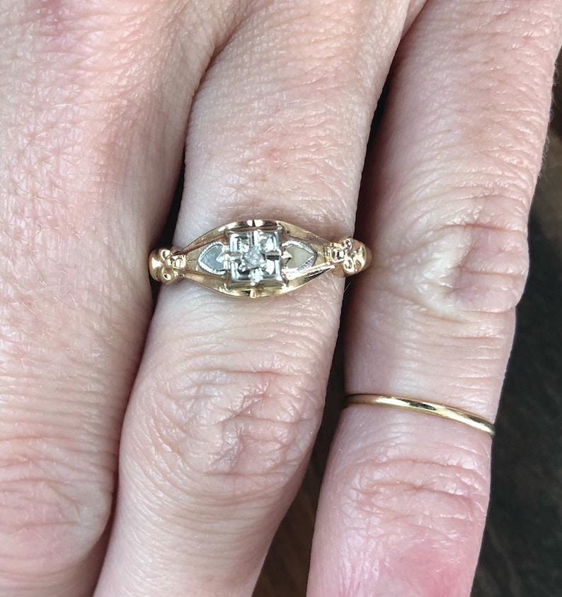 Vintage Antique Estate 14k Old Mine Cut Diamond Solitaire Engagement Promise Ring