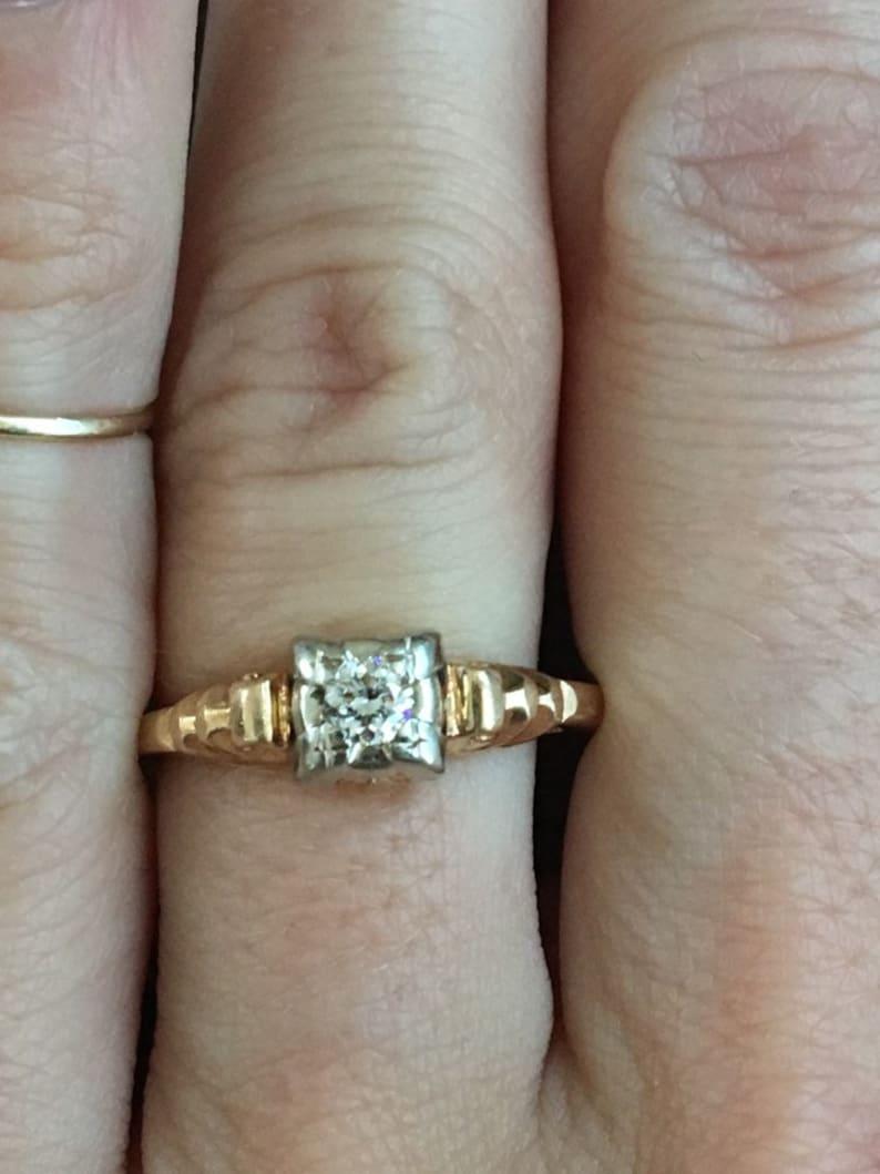 Antique Old European Cut Diamond Solitaire Engagement Ring 14K Yellow Gold Vintage Estate