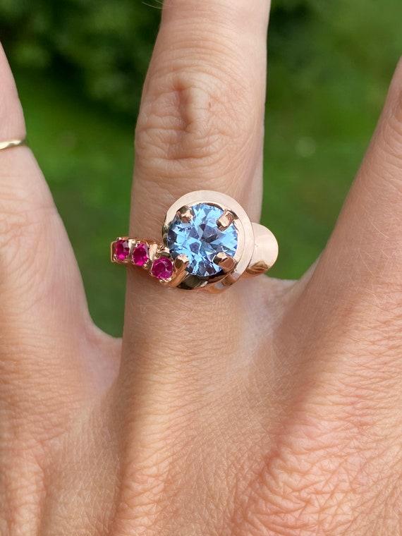 Art Deco Old Rose Gold Spinel 14K Ruby Ring Band V