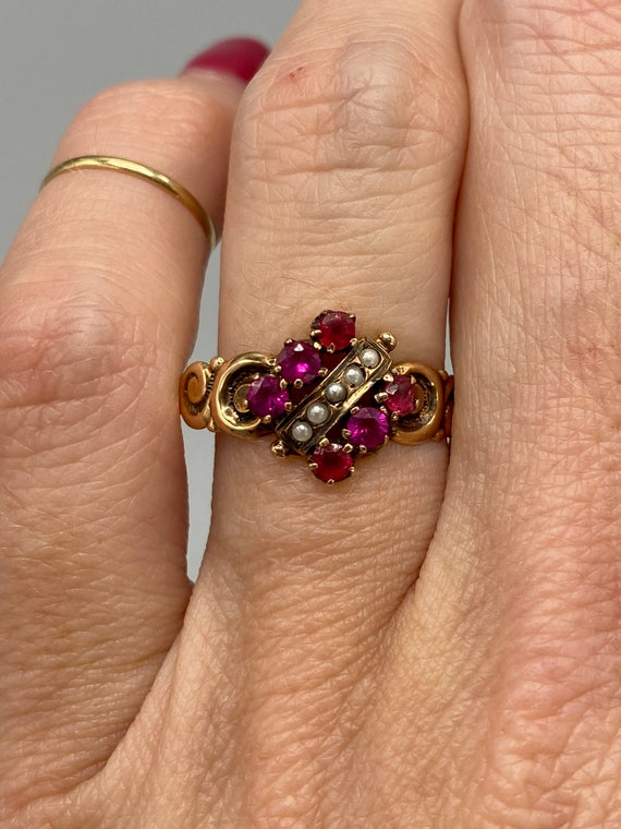 Victorian Antique Ruby Seed Pearl Ring