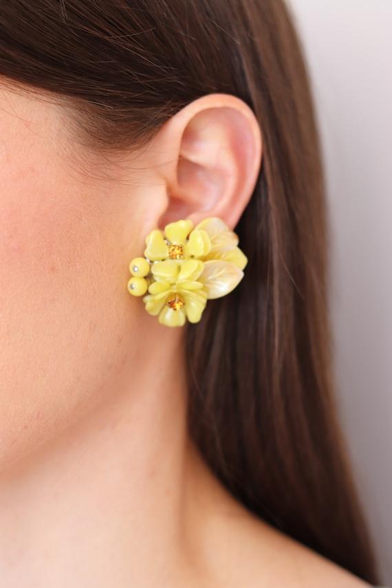 Large Yellow Crystals Oversize Hoop Yellow Bead Bridesmaid Jewelry Floral Yellow Hoop Earrings Big Beaded Yellow Flowers Statement Earrings
