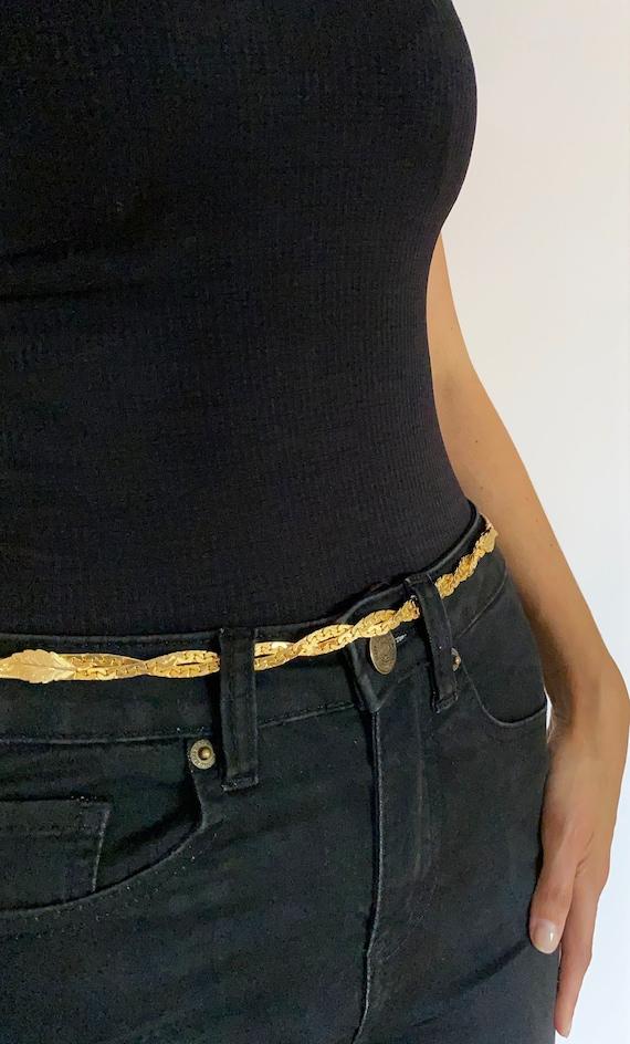 Vintage Leafy Gold Chain Belt