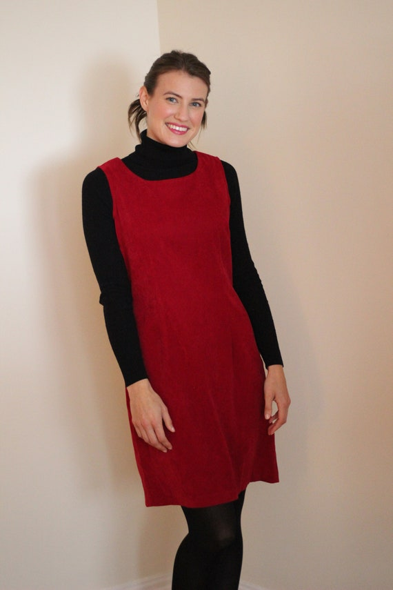 Vintage Raspberry Red Pinafore Jumper Dress