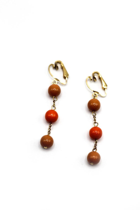 Vintage Orange Dangly Clip-on Earrings