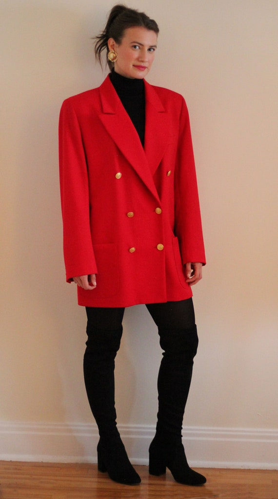 Vintage St. Michael Red Double Breasted Blazer - B