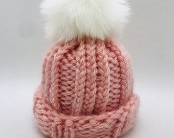 87f6c4439f7 Toddler Chunky Knit Hat with Faux Fur Pompom