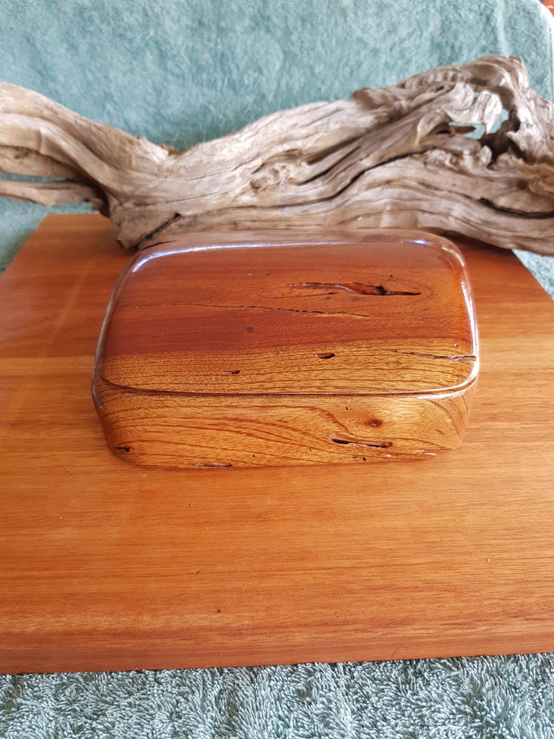 54 Handmade recycled Hardwood wooden Red Cedar /'ant eaten/' shaped Jewelry box hand carved reclaimed wood sustainable found wood #54