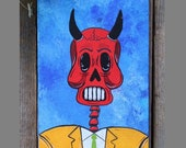 Businessman Devil Skeleton Original Painting Day of the Dead Mexican Folk Art