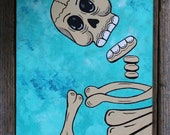 Skeleton on Turquoise Original Painting Day of the Dead by Becca Mexico Folk Art