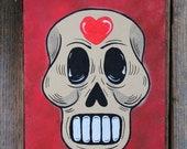 Skull with Heart Original Painting Dias de los Muertos by Becca Mexican Folk Art