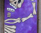 Skeleton on Purple Original Painting Day of the Dead by Becca Mexican Folk Art
