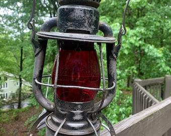 1910 red globe railroad signal lantern New York Dietz Vesta P&PRRY Co.