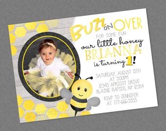 e1abe5b7a4629 Bee Birthday Invitation