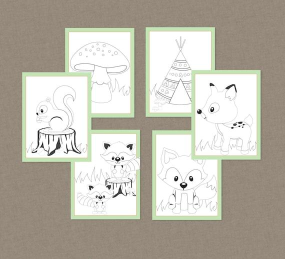 Woodland Little Camper Printable Color Pages  INSTANT