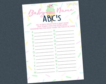 Ice Cream ABC Baby Names Shower Game - INSTANT DOWNLOAD - Ice Cream Baby Shower Games, Baby Name Game, Ice Cream Social, Sprinkle