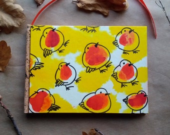 Horizontal notebook with robin, redbreast bird - 100 pages, 15.5cm x 11cm, handpainted and handbound
