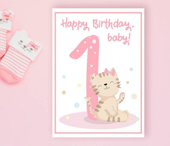 First Birthday Card,Personalized Birthday Card,Printable Card,Personalized Card,Kids Birthday Card,Custom Birthday Card,Cards for Girl,PDF