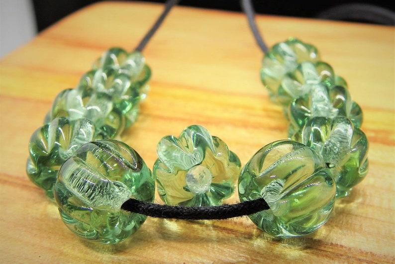 Glass Beads Forest Glass 10+1 Melon Beads Viking Larp Reenactment Birka Gotland Haithabu Vikingbeads Fibula Necklace