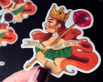 Statement Sticker Riots not Diets Body Positive BoPo Queen Scratchproof Vinyl Lollipop Laptop Label Feminist longboard Thicc Curvy