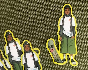 Skater Sticker Original Art Laptop Vinyl Scratchproof Skate culture subculture youth fashion 90s