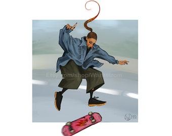 Skater Original Art Fine Art Print Street Skate skateboard 90s tomboy