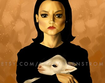Clarice Silence of the Lambs Inspired Hannibal Fanart Art Print Lecter Jodie Foster Anthony Hopkins Horror 90s Classic Movie
